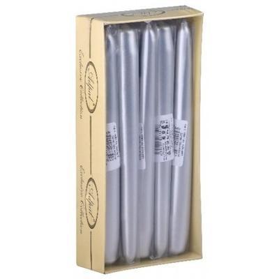 Svíčka kónická 22x195 metal - stříbrná