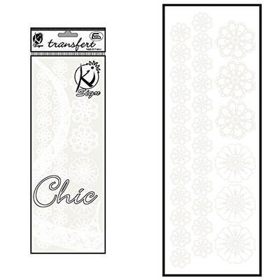 Samolepka na textil zažehlovací sametová  10x30 cm - FLEURS CROCHET  bílé květiny