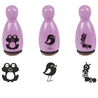 HEYDA Razítka dřevěné kuželky 1,6 x 3,5cm - Žabička, ptáček - 1
