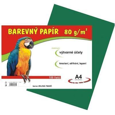 Barevný papír A4, balení 100listů, 80g/m2 - tmavě zelený