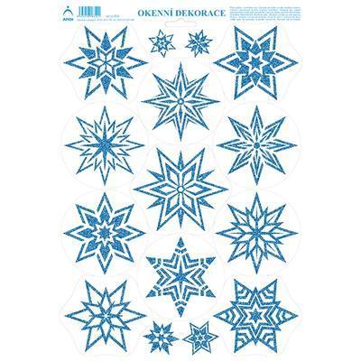 Vánoční adhezní nálepky na okna 25x35cm - barevné glitry, Hvězdičky