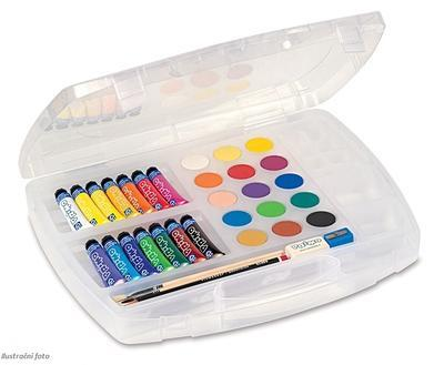 Výtvarný kufřík Primo 14 x temperová barva 12ml, 15 x vodová barva, štětce... - 1
