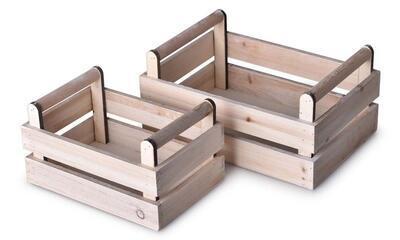 Bedýnka dřevo 2 ks 280x190x135 mm, přírodní Hom