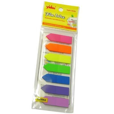 Notes Y neon 45x12 mm, 7 barev šipka