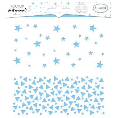 Šablona plastová 15x15 cm - Hvězdy a trojúhelníky - 1