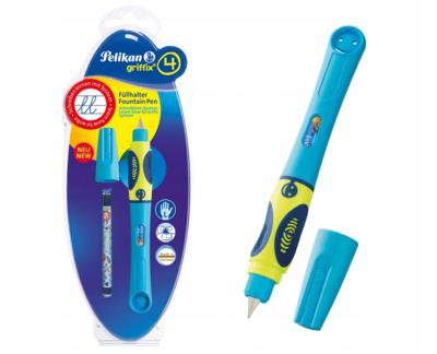 Pelikan Bombičkové pero Griffix 4 pro leváky - neon žlutá/modrá - 1