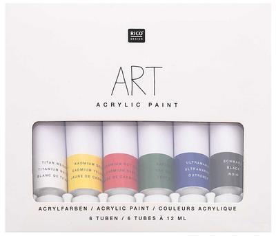 Rico ART Sada akrylových barev na vodni bází - 6x12ml