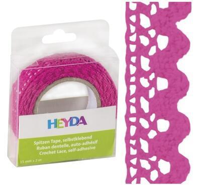Páska textilní samolepící 15mmx2m - růžová - 1
