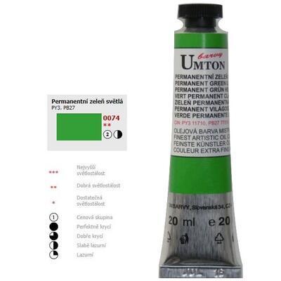 Olejová barva 20ml - Permanentní zeleň světlá/ 2