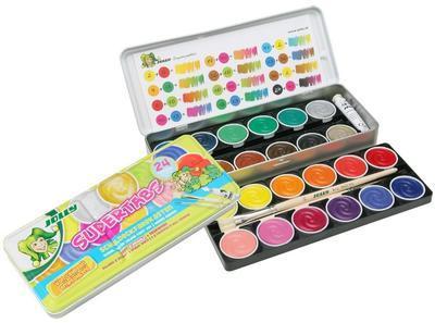 JOLLY SuperTabs  Vodové barvy, 24 barev v kovovém pouzdře  - 1