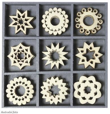 Dřevěné ozdoby v boxu 45ks - ornamenty