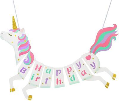 Girlanda STYLEX 14262, Jednorožec Happy Birthday, dinosaurus Bunting / 2,5m - 1