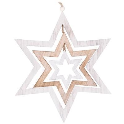 Závěs dřevo 340mm, hvězda - přírodní/bílá