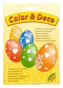 Barvy na vajíčka - 5 barev se samolepkami