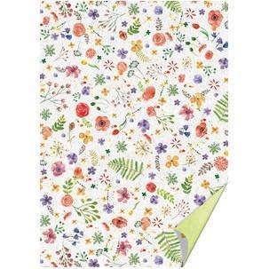 Karton A4, 220 g/m2  bílý-zelený - květy - 1