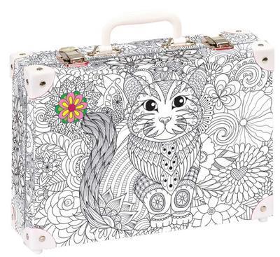 Kufřík - velký 35x25x11 cm - Mandala kočka