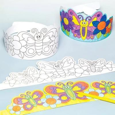 Papírová korunka - Květiny a motýlci, 8 ks - 1