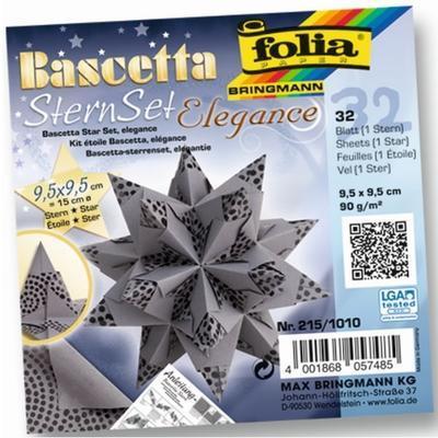 Folia Origami Hvězda Bascetta Elegance - antracit, 32 archů 9,5x9,5cm - 1