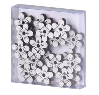 Dekorace dřevo 24ks 25 mm, květina