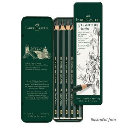 Faber-Castell Sada tužek Castell 9000 Jumbo Graphite  - 5 ks v kovové krabičce - 1