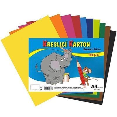 Kreslicí karton A4, 50ks, 180g/m2 - 10 barev