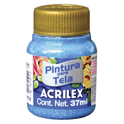 Acrilex Barva na textil 37ml - glitrová tyrkysově modrá 211 - 1