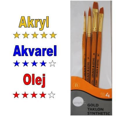 Daler & Rowney Simply Gold Taklon Synthetic - Sada štětců, 4 ks - 1