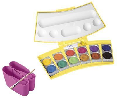 Vodové barvy ProColor 12 barev - žlutorůžové balení - 1
