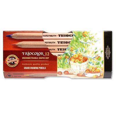 Trojhranné pastelky Triocolor silné - 12 ks přírodní - 1