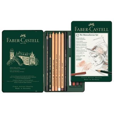 Faber-Castell Sada PITT Monochrome - 12 ks v kovové etui - 1