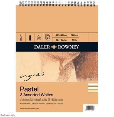 Daler&Rowney Pastel Spiral Pad - 3 Assorted Whites, 406x305 mm, 24 listů