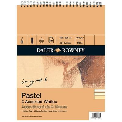 Daler&Rowney Pastel Spiral Pad - 3 Assorted Whites, 406x305 mm, 24 listů