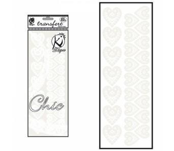 Samolepka na textil zažehlovací sametová  10x30 cm - COEUR  srdce bílé