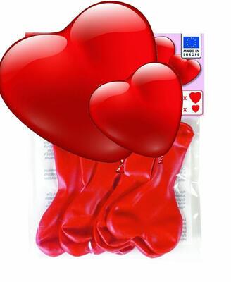 Balonky - Červená srdce  /7 ks/