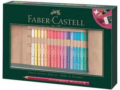 Faber-Castell Pastelky Polychromos 30 ks + příslušenství, rolovací pouzdro - 1