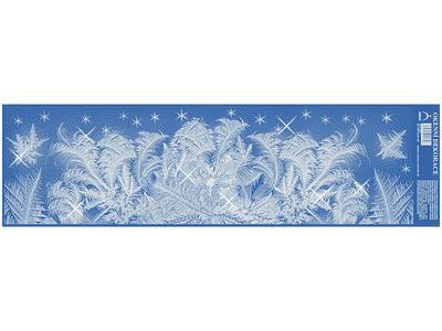 Vánoční adhezní nálepky na okna 50x14cm - s glitry, Ledové květy