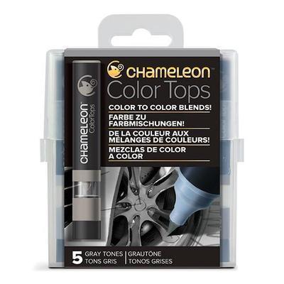 Sada stínovacích fixů Chameleon Color Tops - Šedé tóny, 5ks - 1