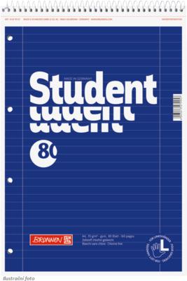 Student blok A4 pro leváky, linka 80 listů spirála - modrý - 1
