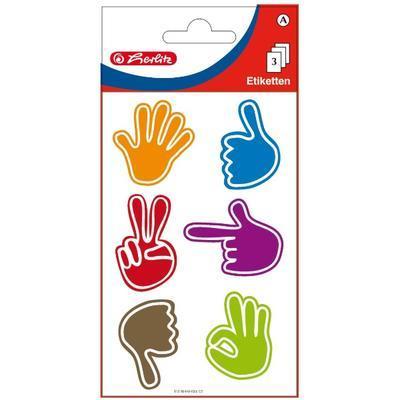 Etikety - ruce barevné