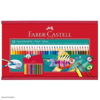 Faber-Castell Školní akvarelové pastelky - 35 ks s příslušenstvím v dřevěné kazetě - 1