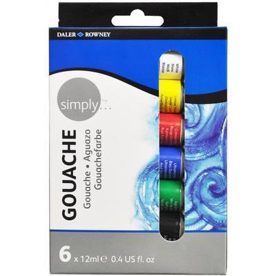 Daler & Rowney Simply Gouache Sada kvašových barev - 6x12ml - 1