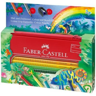 Faber-Castell Pastelky Colour Grip - 16 ks + tužka + ořezávátko v kovové etui - 1