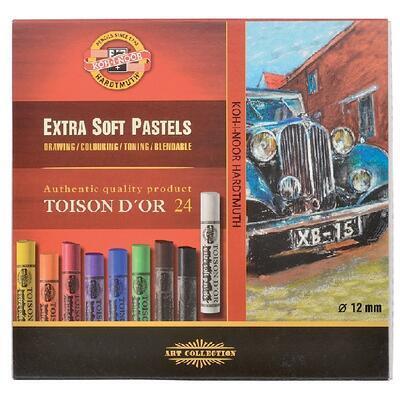 Křídy prašné umělecké Extra Soft Toison D´Or - 24 ks kulaté - 1