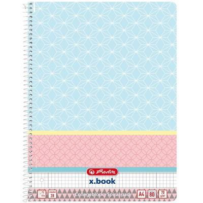 Spirálový blok A4/80 listů, Graphic Pastel čtverečkovaný  - Blue