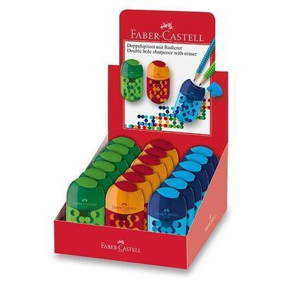 Faber-Castell ořezávátko dvojité s pryží a zásobníkem mix barev - 1