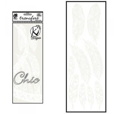 Samolepka na textil zažehlovací sametová 10x30 cm - PLUMES III bílá pírka