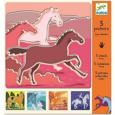 Djeco Šablony Koně - 5ks - 1