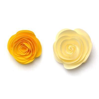 Výřez  Stáčené květiny - žlutá/vanilková - 1