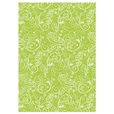 Hedvábný papír 50x70 cm, 20 g/m2, 5 listů - Ornamenty zelený - 1