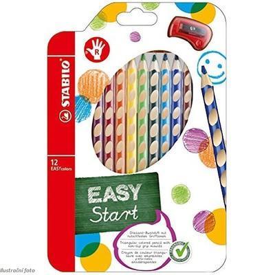 Stabilo EASYcolors 332/12 Pastelky pro praváky - sada 12 ks + ořezávátko - 1